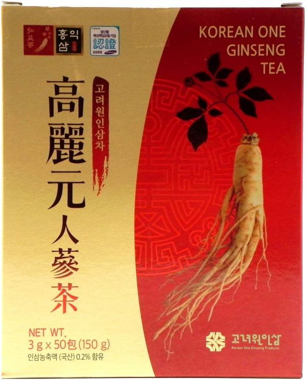 Original Korean Ginseng Tea 0.1oz(3g) 50 Packets - 0.105oz(3g) x 50 Bags