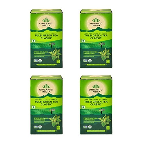 Organic India Tulsi Green Tea Classic 25 Tea Bags Pack of 4